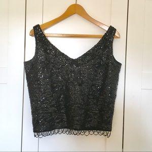 Vintage Black Beaded Sequin Evening Top size L